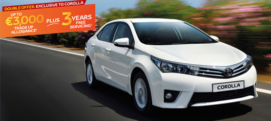 Up to €3,000 Trade Up Allowance PLUS 3 Years Free Servicing on a new Corolla