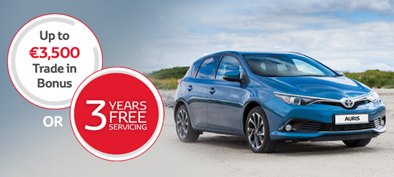 Auris now with Free Technology Pack worth €1,250* & up to €3,500 Trade In Bonus or 3 Years Free Servicing