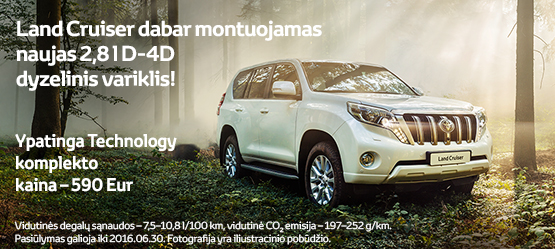 Toyota Land Cruiser: Ypatinga Technology komplekto kaina - 590 Eur