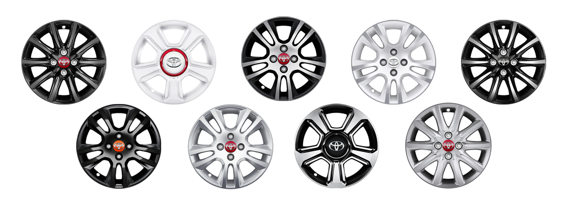 Different coloured AYGO wheels in lines