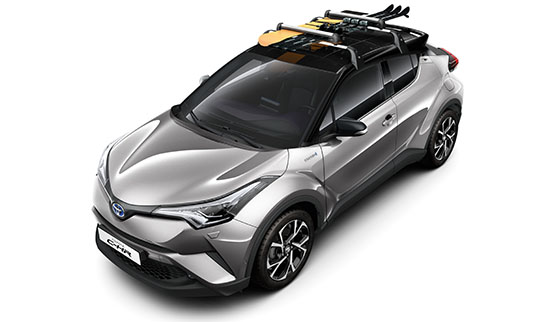 Toyota C-HR, exterior Silver, top view, white background.