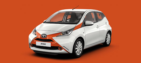 Toyota AYGO, exterior front side view, white with orange x on blue background