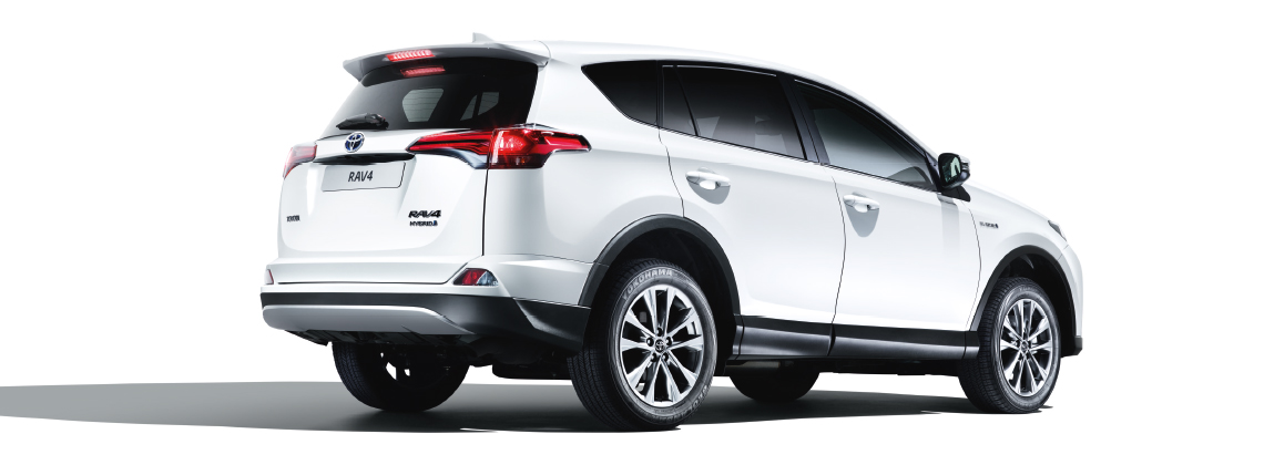 Toyota RAV4, exterior White, side back view, White background.
