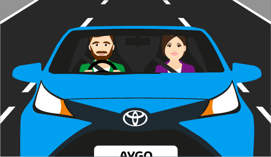 Toyota AYGO, exterior Blue, front view, driving shot of couple, animated background.