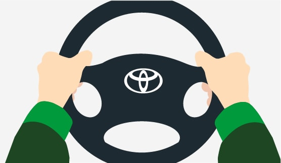 Close-up of a person holding on to a steering wheel, animated background.