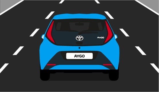 Toyota AYGO, exterior Blue, back view, driving shot, animated outdoors background.