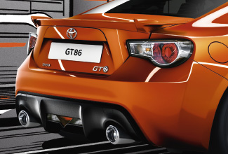 Toyota GT86, exterior Orange, side back view, driving shot, animated background
