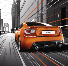 Toyota GT86, exterior, Orange, side back view, driving shot in animated background