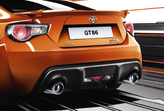 Toyota GT86, exterior Orange, side back view, driving shot, in animated surroundings