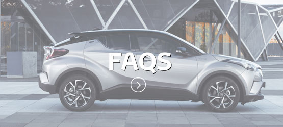 Silver Toyota C-HR from the side with FAQs text