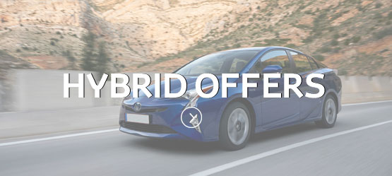 Blue toyota Prius with Hybrid Offers text