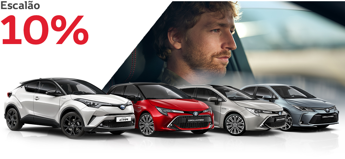 C-HR 1.8 Hybrid Square Collection; Corolla e Corolla Touring Sports 1.8 Hybrid Comfort + Pack Sport; Corolla Sedan 1.8 Hybrid Exclusive